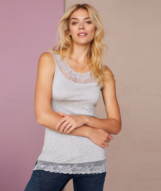 FLORENCE Top - Gris clair chiné
