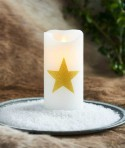 BOUGIE STAR SARA BLANC/OR FLAMME