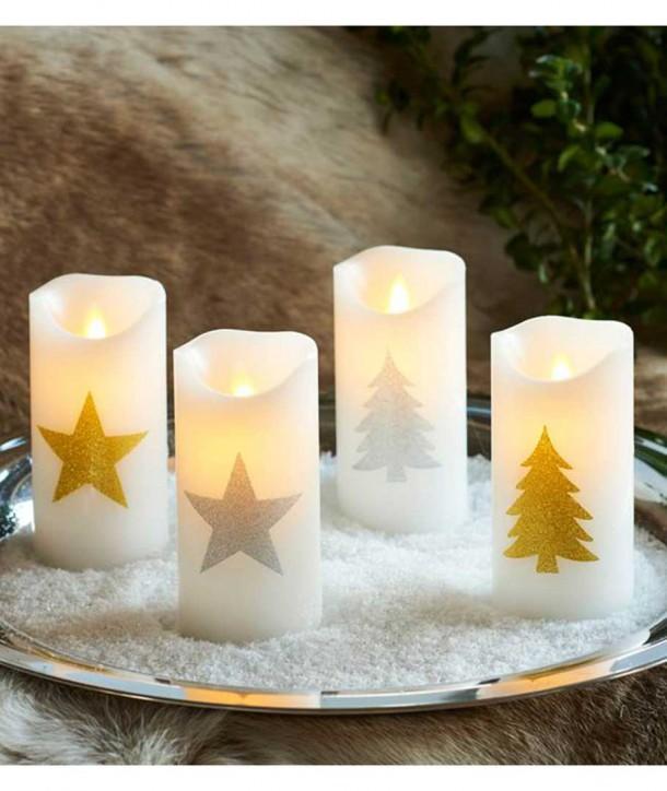 BOUGIE STAR SARA BLANC/OR FLAMME