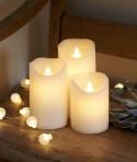 Set de 3 Bougies Blanches SARA Flamme