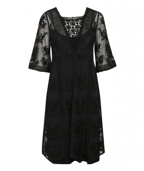 ASTID Robe en dentelle - Pitch Black