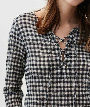 HOCK Top Carreaux navy