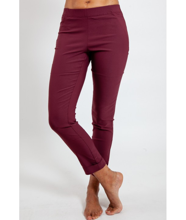 PIANO Pantalon en viscose stretch confort - Rouge bordeaux