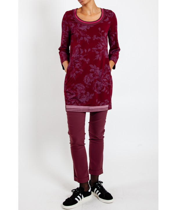 CELLO Tunique en jersey fleuri - Rouge bordeaux