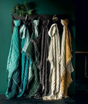 Plaid en Lin et Coton BAYA Bi couleur - 8 coloris - HARMONY