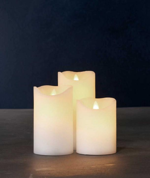 Set de 3 bougies led SARA blanches