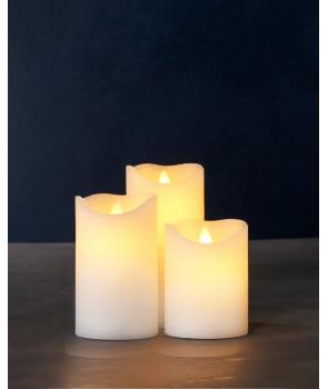 Set de 3 bougies led SARA crèmes