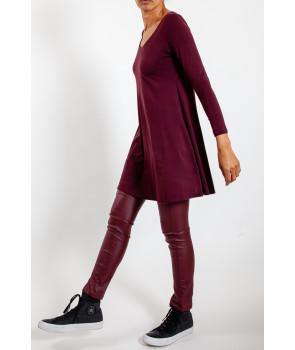 BELUS Pantalon glacé faux cuir - Rouge foncé