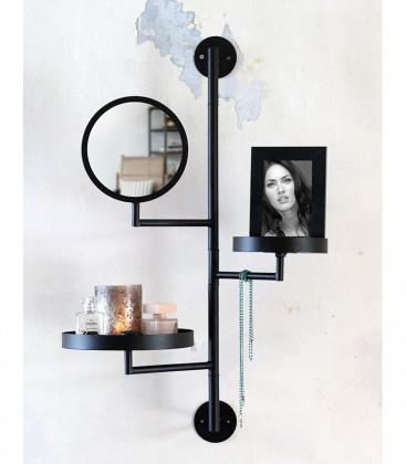 Etagère murale avec miroir LOYD Noir