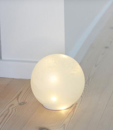 BOULE LED EN VERRE BLANCHE 15cm