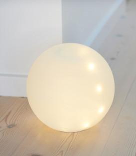 BOULE LED EN VERRE BLANCHE 20cm