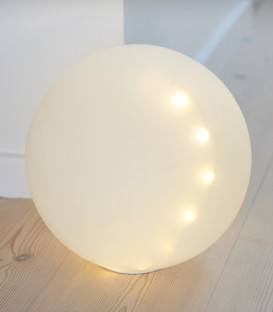 BOULE LED EN VERRE BLANCHE 25cm