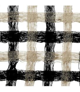Abat-jour en Bambou et Soie colori Beige/Noir - 3 tailles