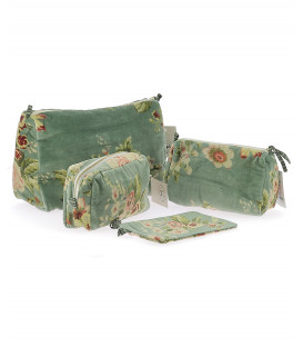 Trousse de Toilette BANGALORE 100% velours de Coton - coloris JADE