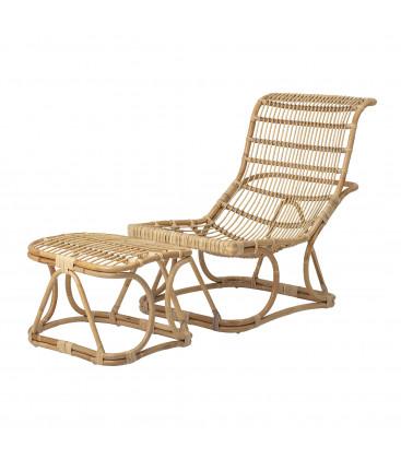 Chaise et repose pieds en rotin naturel ELOISE - Bloomingville