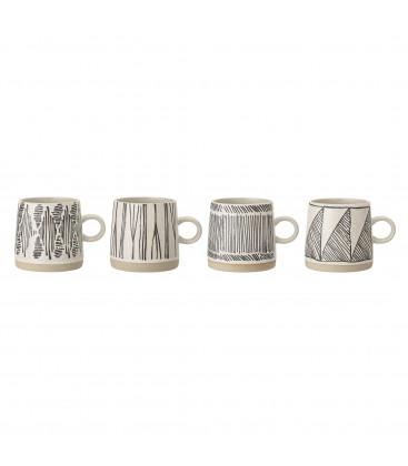 4 Mugs ELIANA , Noir, Grès - Bloomingville