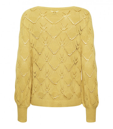 SIMONE Pullover Spicy Mustard - Cream Clothing