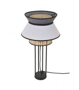 Lampe à poser Cannage et Lin Lavé SINGAPOUR - Blanc/Anthracite - MARKET SET