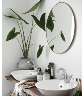 Miroir rond bord laiton Ø59cm