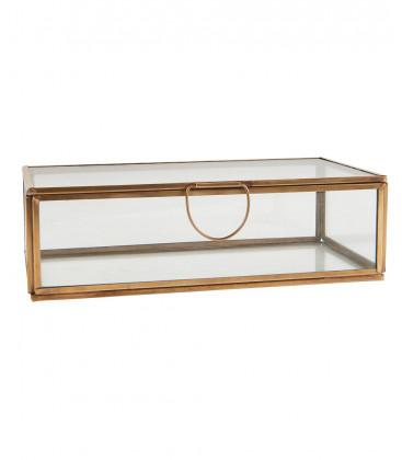 Boîte verre et laiton rectangulaire P10,5xH6xL20,5