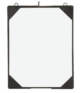 Cadre photo noir coin métal 19,5x25cm
