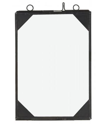 Cadre photo noir coin métal 12x17cm