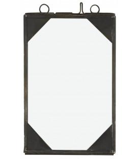 Cadre photo noir coin métal 9,5x14cm