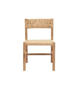 Chaise en teck assise tressée CORA - 2 col. - Dareels