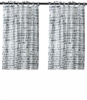 Paire de rideaux coton imprimé Noir - Affari