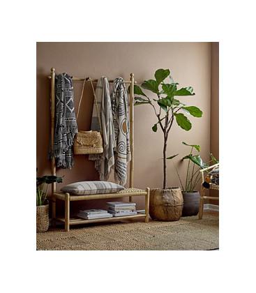 Plaid frangé en coton recyclé Vert et Beige - Bloomingville