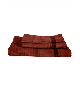 Serviette Éponge 100% Lin Nid d'Abeille TIMIKA couleur Brick - Harmony