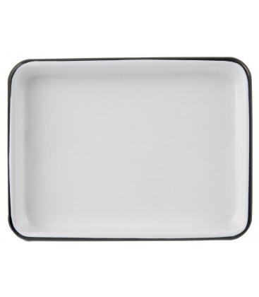 Plateau rectangulaire emaillé blanc liseré noir