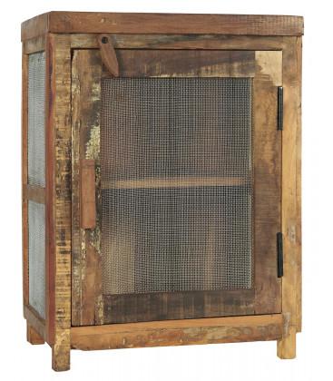 Chevet ancien garde manger en bois recyclé et porte grillagée - Ib Laursen