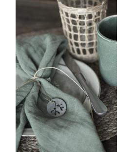 Serviette de table en gaze de coton frangée Vert