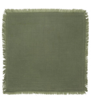 Serviette de table en gaze de coton frangée Vert