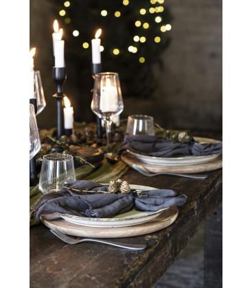 Serviette de table en gaze de coton frangée Anthracite - Ib Laursen