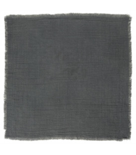 Serviette de table en gaze de coton frangée Anthracite - Ib Laursen