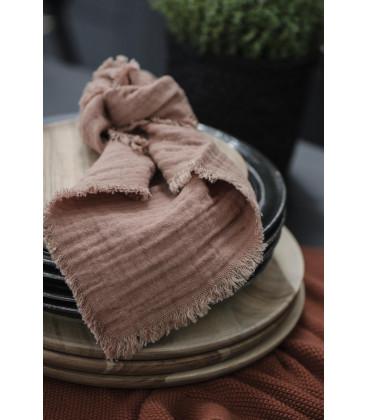 Serviette de table en gaze de coton frangée Brick - Ib Laursen