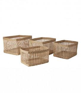 Set de 4 corbeilles en jacinthe d'eau naturelle - Affari