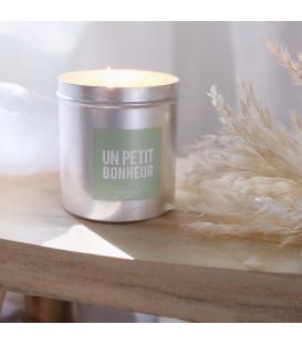Bougie Cire 100% végétale - Sans OGM ni Pesticides - Mèche pur Coton - 200g Message - Un petit bonheur - FARIBOLES