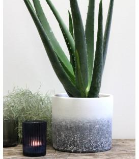 Cache Pot COIMBRA en Terracotta Blanc Gris - 14X14 - Red Cartel