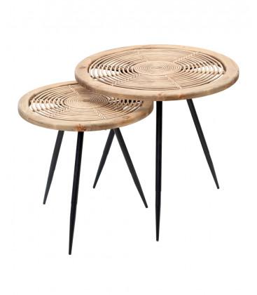 Set de 2 tables MARACAT en Rotin naturel et métal noir - 61X57 et 49X49 - Red Cartel