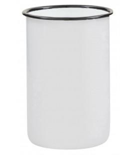 Gobelet métal émaillé blanc liseré noir - Ib Laursen