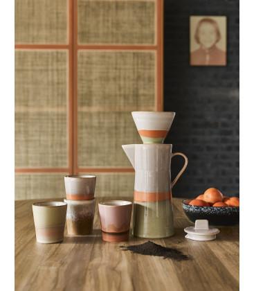 Porte filtre à café coloré céramique 70's - HK Living
