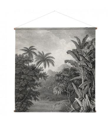 Tenture murale XXL imprimée jungle et palmier en noir et blanc