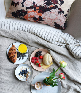 Assiette plate Palme céramique - HK Living