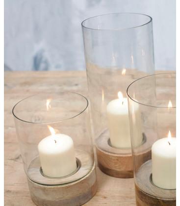 Lanterne cylindrique IDHA - Verre et Bois - Petit format