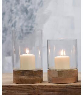 Lanterne cylindrique IDHA - Verre et Bois - Format moyen