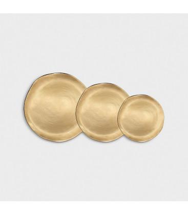 Set de 3 assiettes porcelaine Imperfect Gold - Klevering