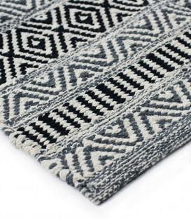 Tapis blanc/noir en coton ethnique grande taille - Impression Lin